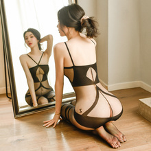 Couple Sex Games Bodystocking High-end Bodysuit Women Sexy Striped Open Crotch See through Body Socks Tight-Fitting Bodysuits