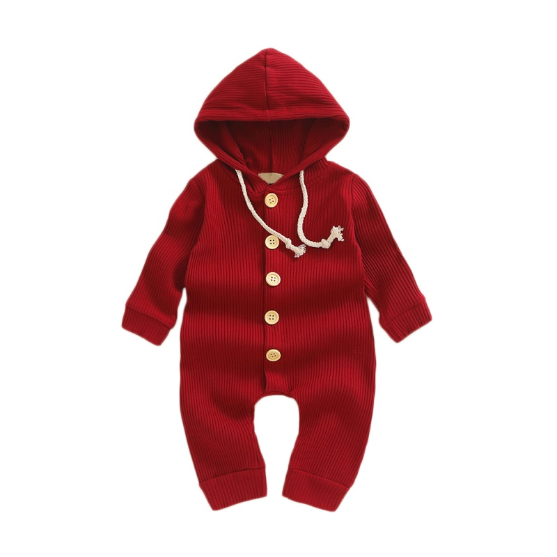 2019 Baby Solid   Romper   Hooded Clothing Spring Autumn Newborn Knitted Cotton   Romper   Jumpsuit Baby Girl Boy Ribbed Clothes