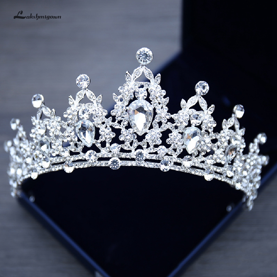 Lakshmigown Rhinestone Wedding Crown Silver Pageant Tiara Crowns Bride Headbands Wedding Hair Accessories