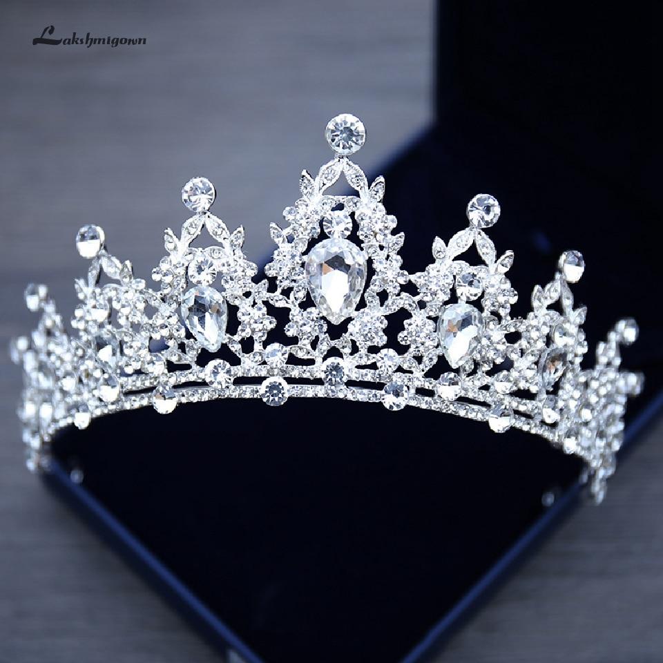 Lakshmigown Rhinestone Wedding Crown Silver Pageant Tiara Crowns Bride Headbands Wedding Hair Accessories