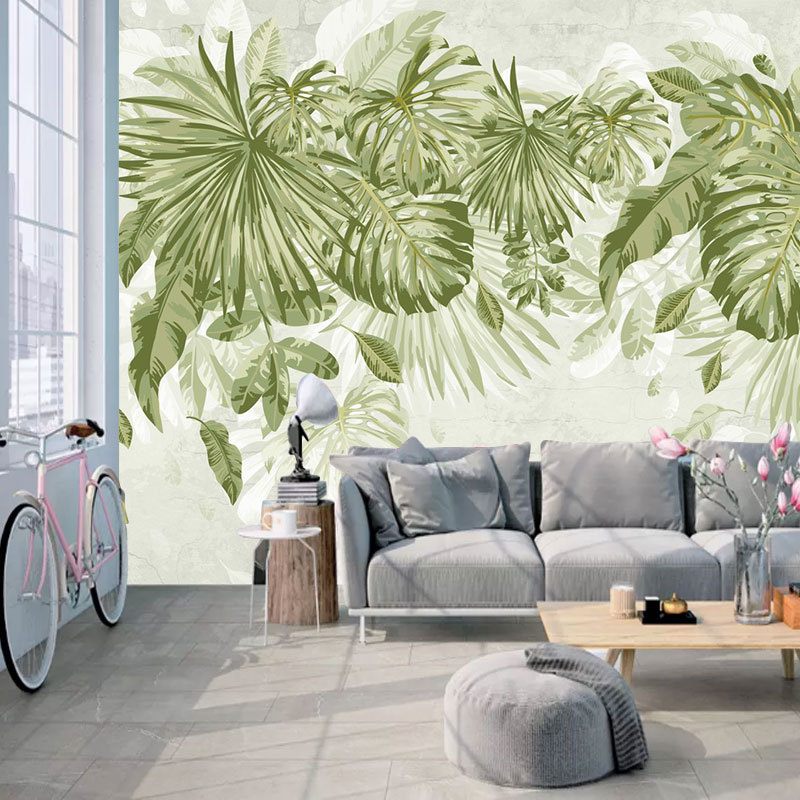 Living Room Bedroom TV Background Wallpaper Mural Hand-Painted Style Northern European-Style Green Plant Japanese Banana Leaf Wa