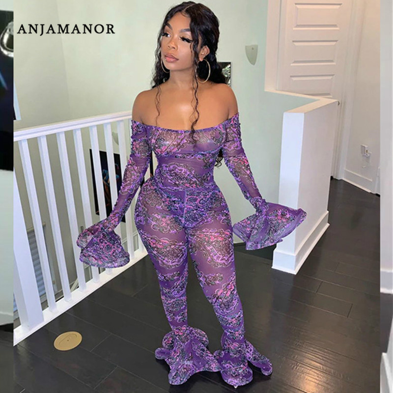 ANJAMANOR Floral Print Mesh Bell Bottom Jumpsuits Romper Sexy Costume Fall 2019 Clubwear Outfits Plus Size Dropship D37-AD92