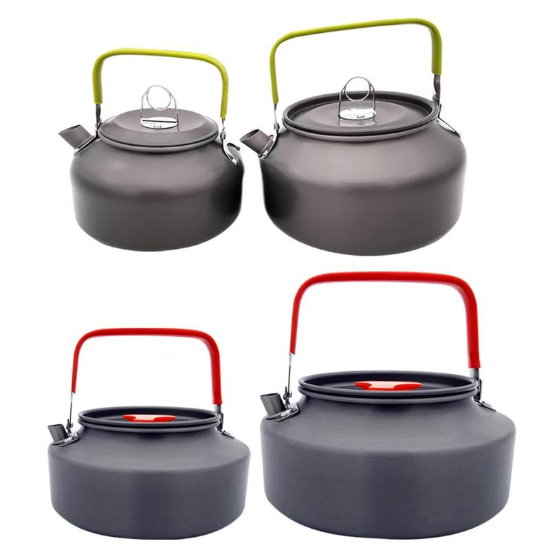 0.8/1.1/1.2/1.6L Portable Camping Boil Water Kettle Aluminum Alloy Outdoor Teapot Water Kettle Pot Coffee Pot Picnic Tableware