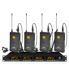 Metallic 4-channel UHF wireless microphone system with 4 lavalier microphones for stage church family gatherings
