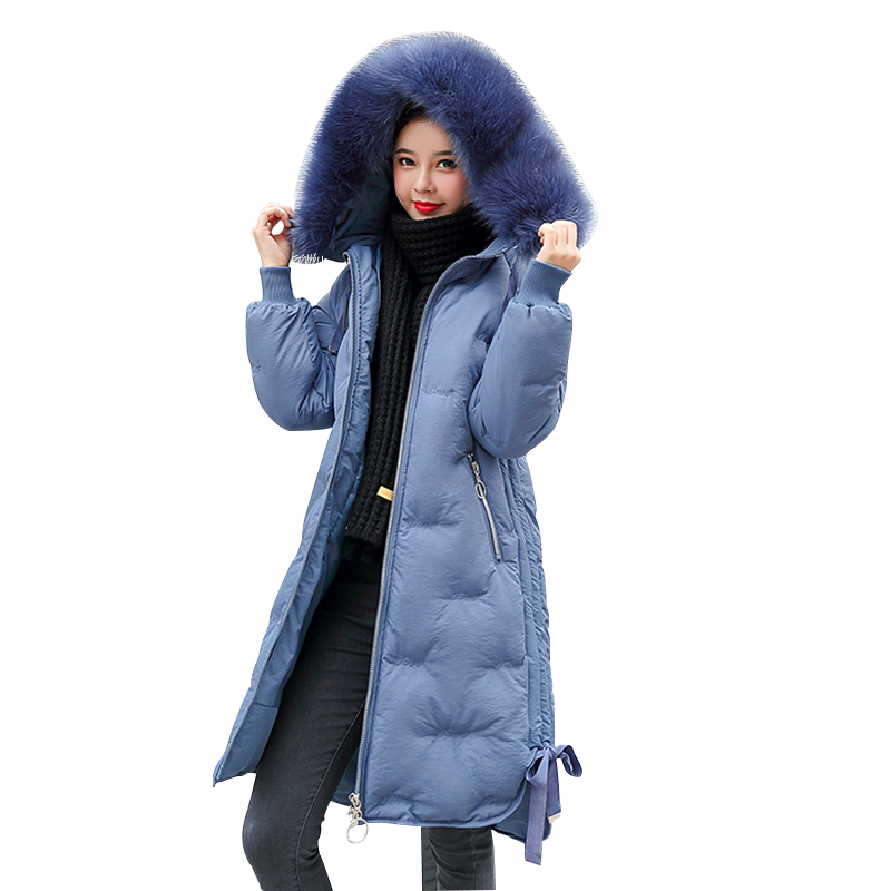 Winter   Parkas   2019 new elegant embroidery letter hooded thick long women's fur collar jacket winter snow -30 degree jackets coat