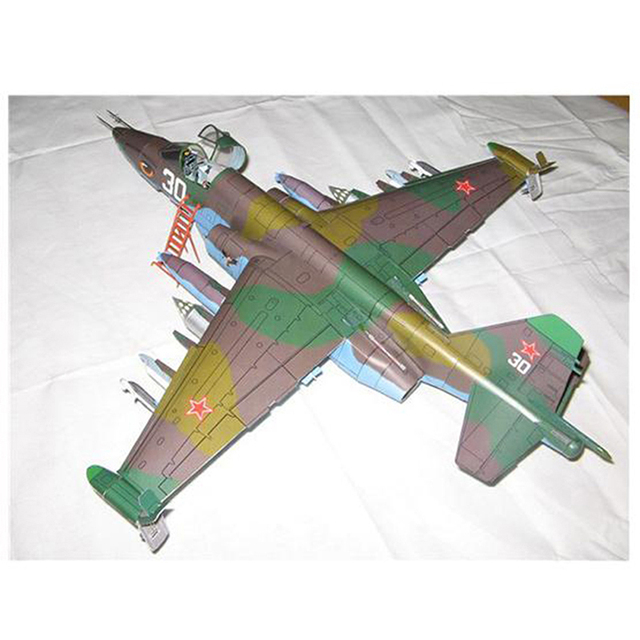 1PC 1:33 Su-25 Fighter Aircraft DIY 3D Paper Model Building Sets Construction Toys Educational Toys 4
