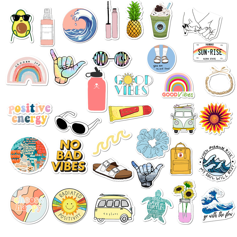11/13/35Pcs Pack Simple Girl Cute Cartoon Vsco Sticker Decal DIY for Laptop Luggage Guaitar Skateboard Toy Waterproof Stickers