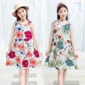 Toddler girl dress fashion cotton silk sleeveless girl princess dress casual dress floral print Hawaiian vacation beach dress 4-
