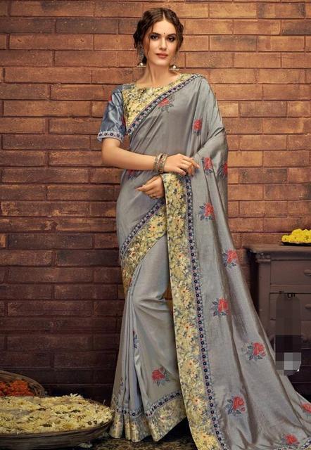 17 ألوان رائع الهندي الساري الهندي للمرأة الجميلة التطريز ساري العرقية النسيج 4
