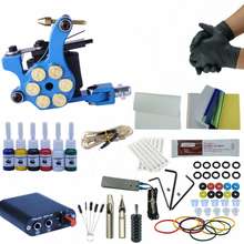 Complete Tattoo Kits Set Tattoo Machine Power Supply 1 Gun 6Color Inks Tattoo Supplies Beginner Body Art Tattoo Kits professional tattoo kits tattoo machine gun power supply system needles ink set alloy gripping complete tattoo equipment kit eu