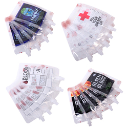 10pcs Halloween Cosplay Drink Container Bag Vampire Blood Pouch Props Zombie Beverage Drinks Bags Food Class PVC Water Bottle