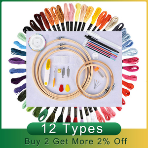 Image 2 - 50/100 Colors Skeins Embroidery Pen Needle Set Thread Punch Stitching Knitting Kit Women Mom DIY Sewing Accessories With Tweezer