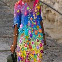 2021 New Women Printing Dress Summer V-Neck Half Sleeve A-Line Dresses Female Retro litera Vintage Loose Dress Vestidos