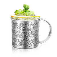 Classic thick stainless steel printing cocktail mule cup creative collection pattern beer mug bar tool