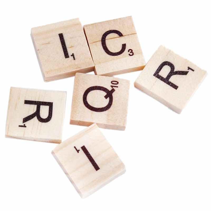 100x خشبية الأبجدية البلاط الأسود الحروف والأرقام ل الخربشة طفل الطفل التعليمية الرسم لعبة تلوين هدية ، لون الخشب