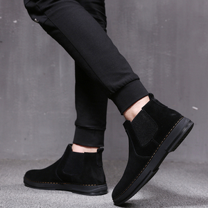 Image 4 - Mens moda di lusso stivali di pelle morbida slip on nero utensili scarpe di camoscio deserto chelsea bota nero botines caviglia militare hombre