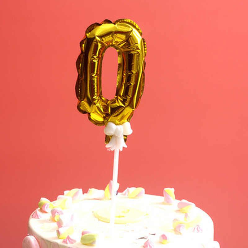Décoration de gâteau à ballon numérique 7 pouces | Couleur or argent en forme de feuille, décoration de mariage, fournitures pour drapeaux de gâteau d'anniversaire pour enfants