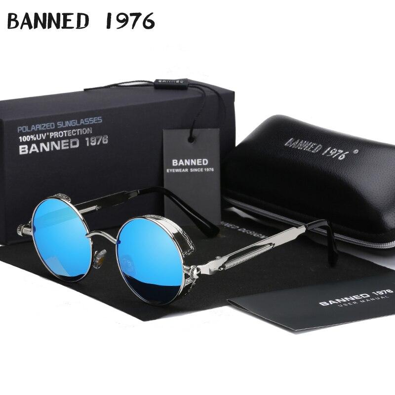 2020 Retro Round Metal HD Polarized Punk Steampunk Sunglasses For Women Men,Vintage Sun Glasses Oculos De Sol Feminino Masculino