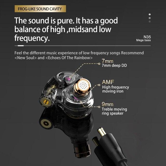Nouveau FMJ N35 trois unités anneau fer hybride lecteur filaire écouteurs intra-auriculaires 3.5mm interchangeable ligne moniteur universel casque