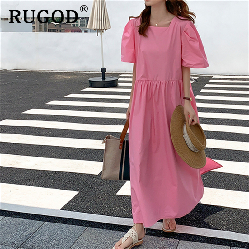 RUGOD Korean ins solid loose summer dress Fashion back single-breasted ladies dress Casual square collor split maxi dress 2