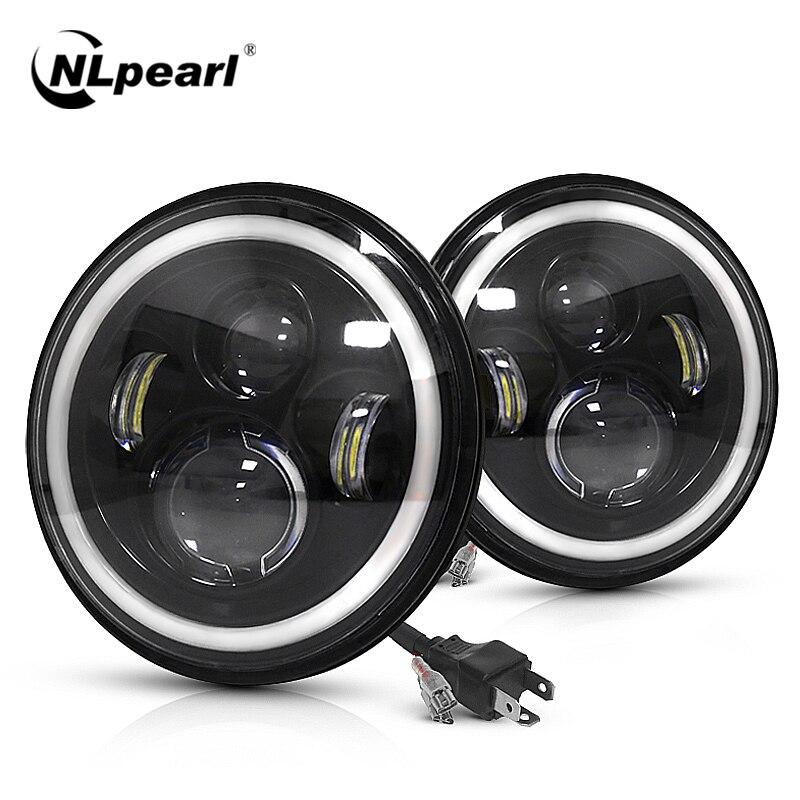 Nlpearl Conjunto de luces LED para coche, 7 pulgadas, H4, faro DRL Halo, ojos angulares, 12V, 24V, señal de giro Alto y Bajo para Lada Niva, todoterreno, 4x4|Ensamblaje de luces de coche| - AliExpress