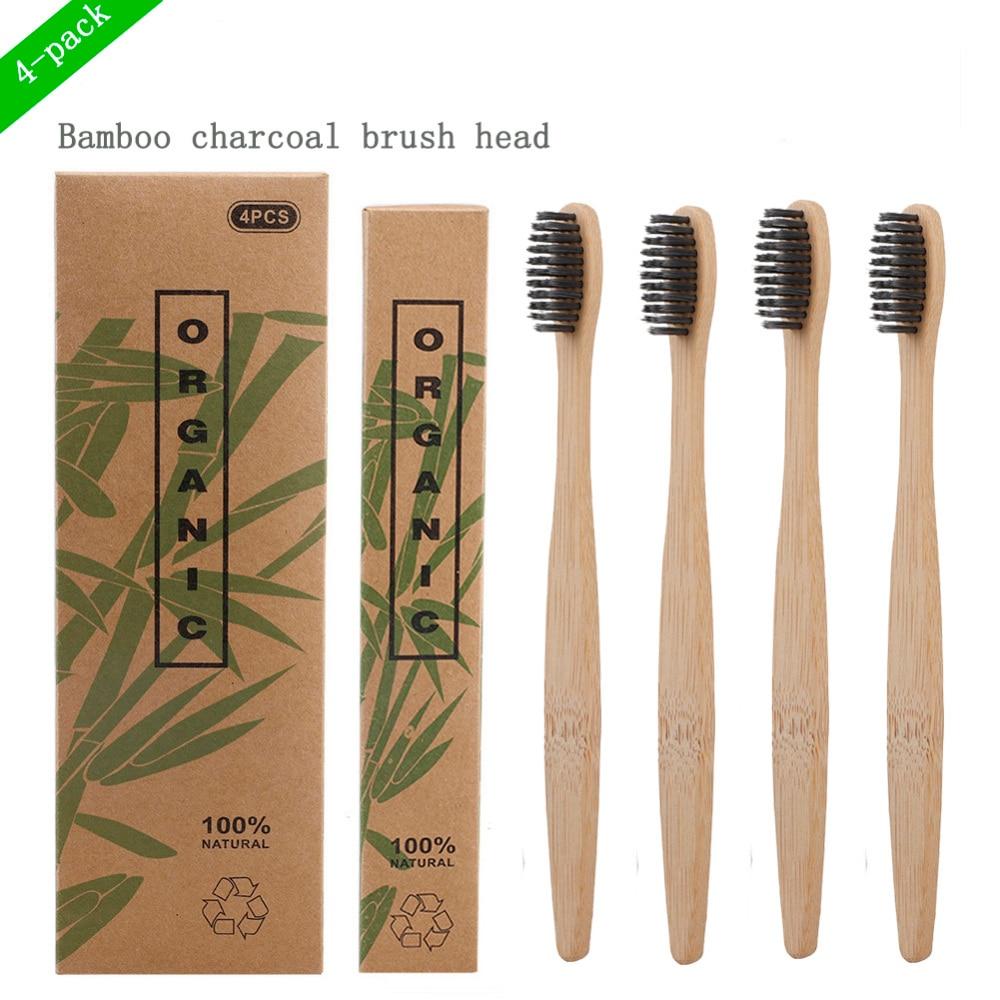 Bamboo Toothbrush Novelty Wooden Teeth Brush Soft-bristle Bamboo Fibre Wooden Handle Bamboo Tube Charcoal Set