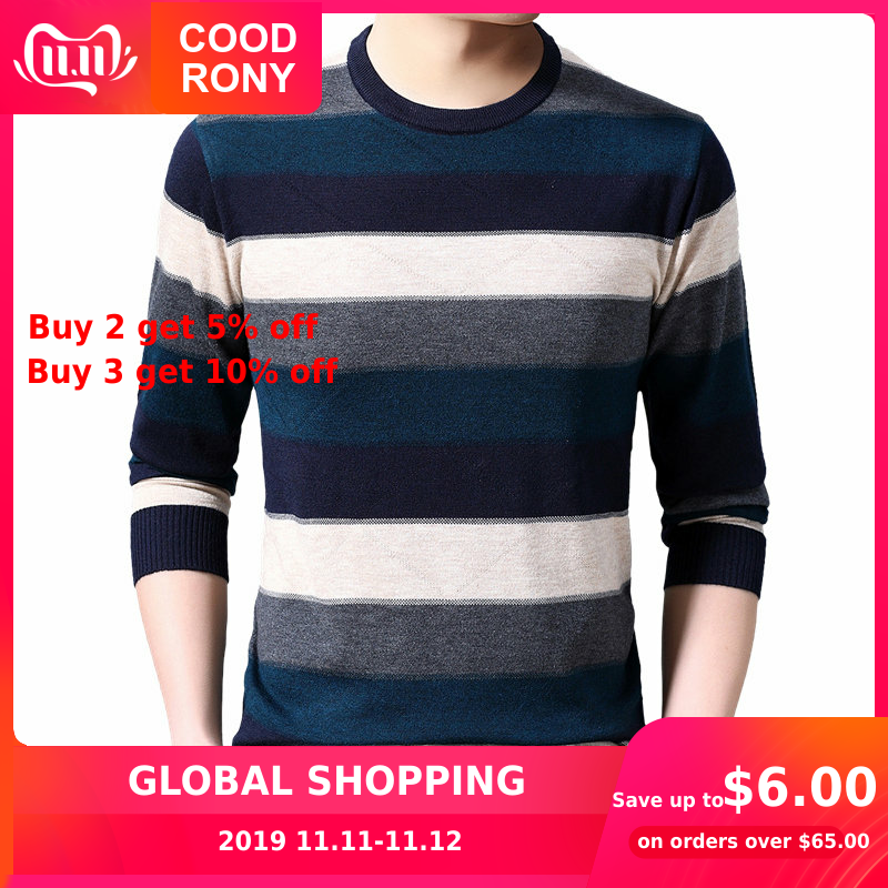 COODRONY Brand Sweater Men Casual O-Neck Pullover Men Autumn Winter Cotton Wool Sweaters Striped Knitwear Shirt Pull Homme 91072