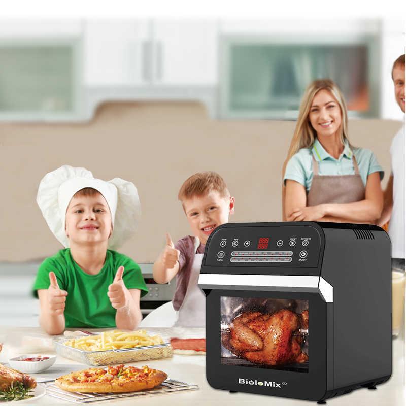 BioloMix 12L 1600W beztłuszczowa frytownica piekarnik toster z rożna i odwadniacz z LED cyfrowy ekran dotykowy, 16-in-1 blat piekarnik