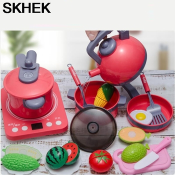 Kids Kitchen Toys Simulation Cooking Play House Educational Toys Mini Kitchen Cookware Pan Pretend Play Role Playing Toys mini simulation kid cute microwave oven pretend role play toy educational for children role playing kitchen toys playing house