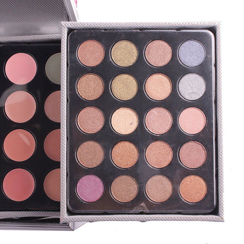Miss Rose профессиональный набор для макияжа коробка для макияжа Блеск Мерцающий матовая Палетка теней для век Блеск для губ Румяна Кисточки для макияжа - 5