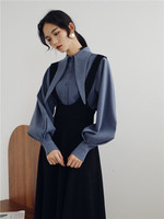 Loose 2019 A line Casual Two Piece Set Brief Fashion Single Breasted Women Clothes Vintage Peter Pan Collar Conjunto Feminino