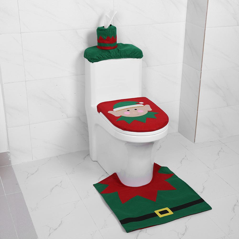 Baby Christmas Toilt Decorations Bath Toilet Seat Cover Paper Rug Natal Christmas Ornaments Santa Claus New Year Decor Navidad