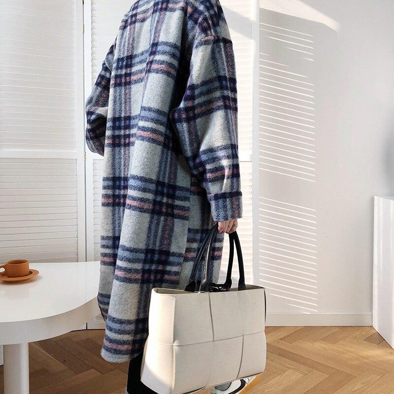 Винтажное Женское шерстяное пальто с длинным рукавом 2020 модное