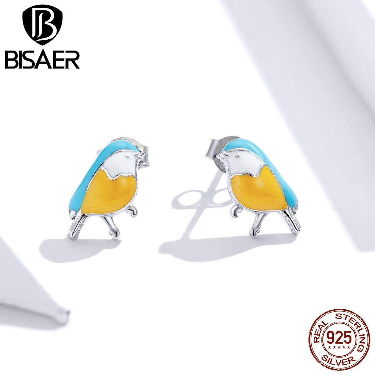 2020 New BISAER 925 Sterling Silver Spring Robin Earrings Stud Bluebird Fashion Stud Earrings Jewelry ECE845