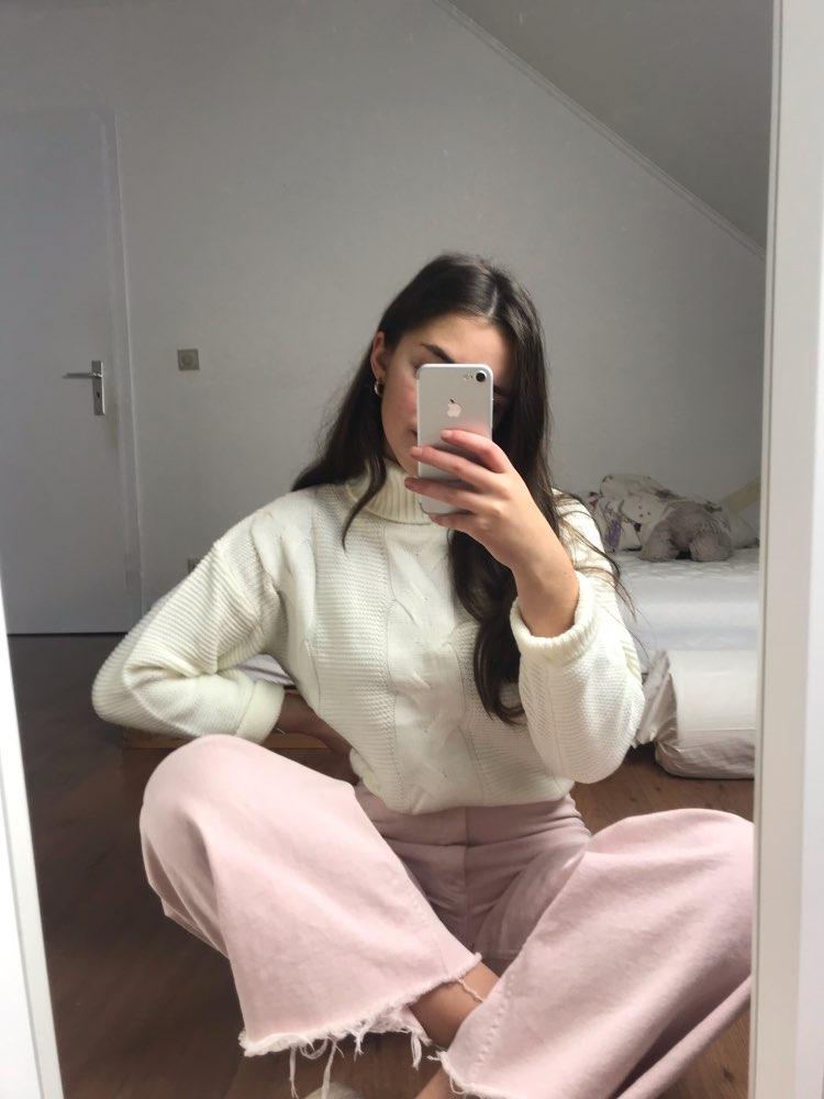 2019 осень зима женский розовый классический свитер с воротом Женский пуловер однотонный Повседневный вязаный свитер в рубчик