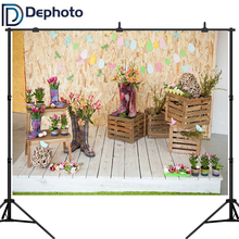 Dephoto Spring Easter Photography Backdrops Wooden Wall eggs flowers Kids Newborn Portrait Background Photo Studio Shoot props pastel pink color princess baby girl photo shoot background printed flowers newborn photography props kids portrait backdrops
