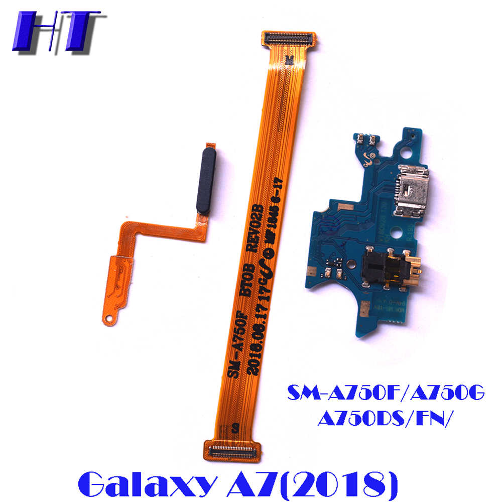 Voor Samsung Galaxy A7 2018 A750F A750DS A750FN power on off moederbord USB charing board microfoon flex kabel