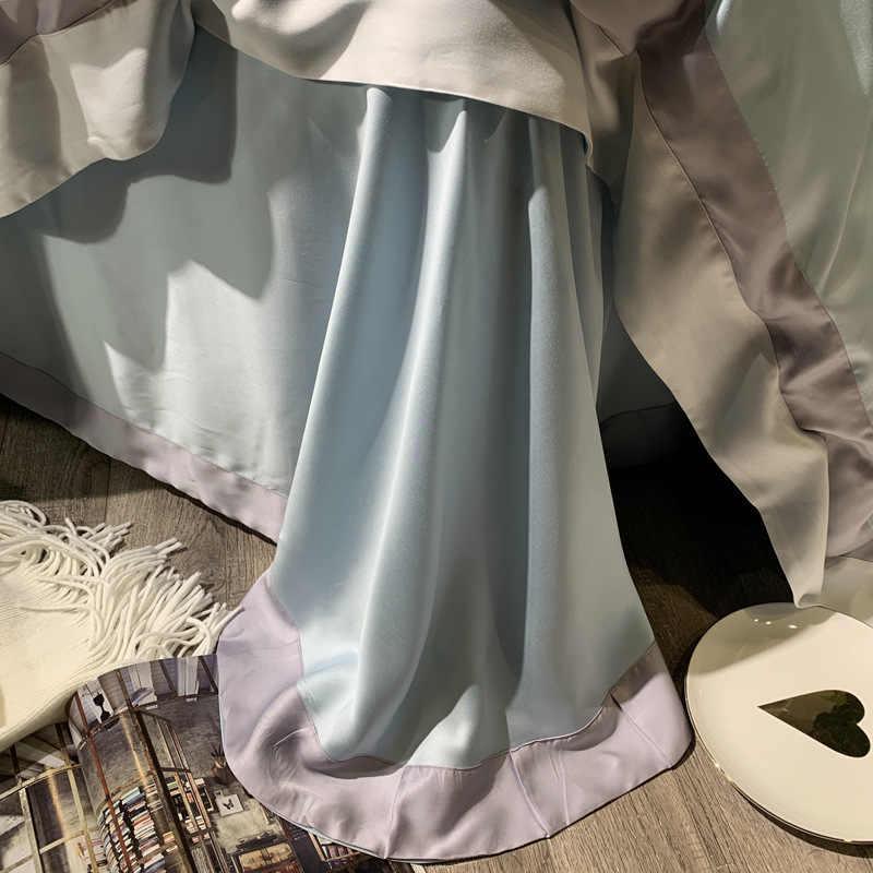 ANNAs Coisa Boa Qualidade jogo do Fundamento 80 ramo Tencel Cama Nórdico Artigo Legal Colcha de Casamento de Seda Rosa Lençol Roxo