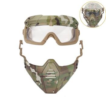 Gogle motocyklowe maski taktyczne okulary Paintball z odpinaną maska narciarska dla Airsoft CS skuter śnieżny jazda na rowerze maska Halloween tanie i dobre opinie CN (pochodzenie) As description Jasne MULTI Z tworzywa sztucznego YZ1382 Skiing