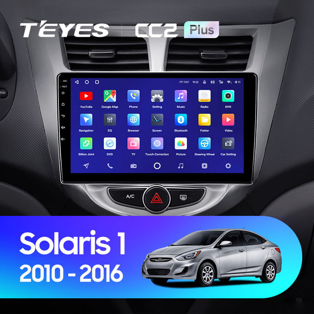TEYES CC2L и CC2 Plus Штатная магнитола For Хендай Солярис 1 For Hyundai Solaris 1 2010 - 2016 Android до 8-ЯДЕР до 6 + 128ГБ 16*2EQ + DSP 2DIN автомагнитола 2 DIN DVD GPS мультимедиа автомобиля головное устройство 2