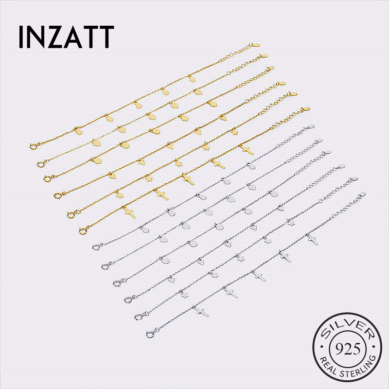 INZATT Real 925 Sterling Silver Minimalist Geometric Bracelet For Charming Women Party Fine Jewelry Cute Accessories 2020 Gift