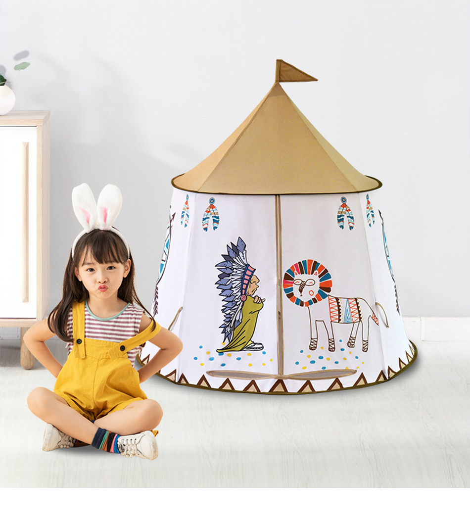 Portable Children's Tent Kids Wigwam Play House Tent For Kids Princess Castle Teepee Hang Flag Baby Foldable Children's Room Toy image