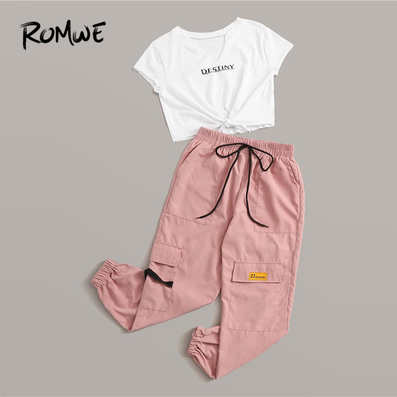 Romwe Sporty Letter Print Knot Front Tee And Cargo Pants 2 Piece Set Women Jogging Activewear Casual White Tee Matching Set