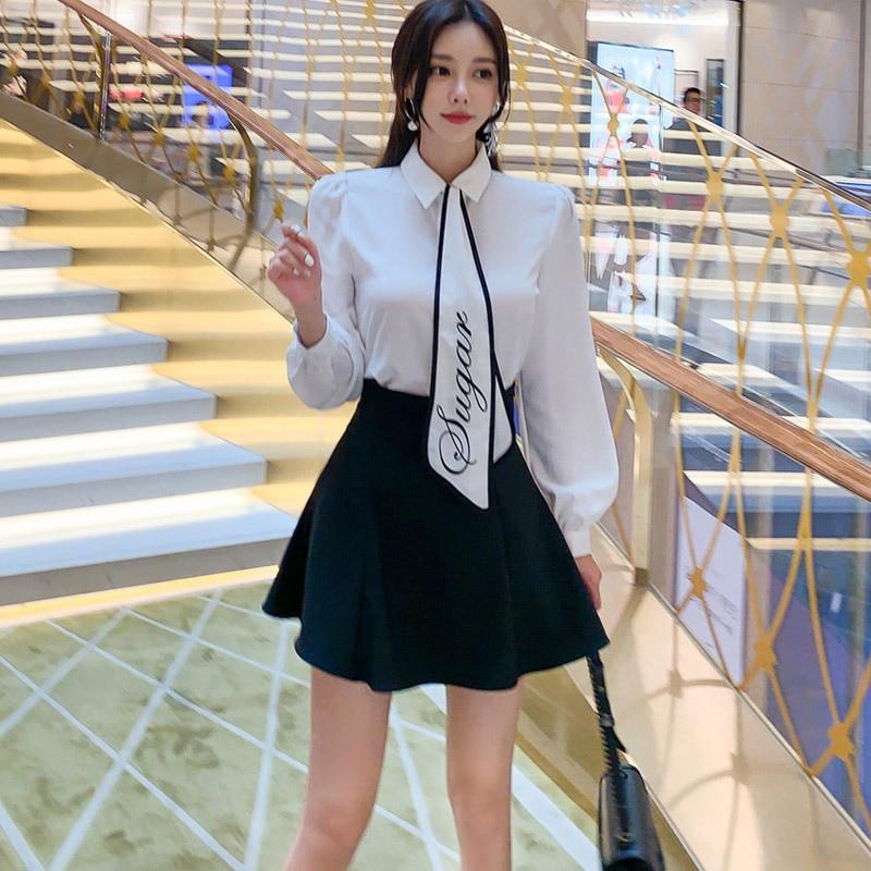 2020 Women White Shirt With Tie And Mini Package Hip Black Skirt Ladies Suit Autumn Winter Runaway Brand Designer 2 Piece Set