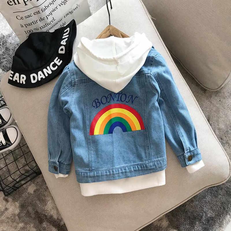 2019 nuevos niños calientes Demin ropa Otoño Invierno niños bebé Arco Iris bordado suave vaquero retro abrigo niño niña chaqueta de Jean CT59