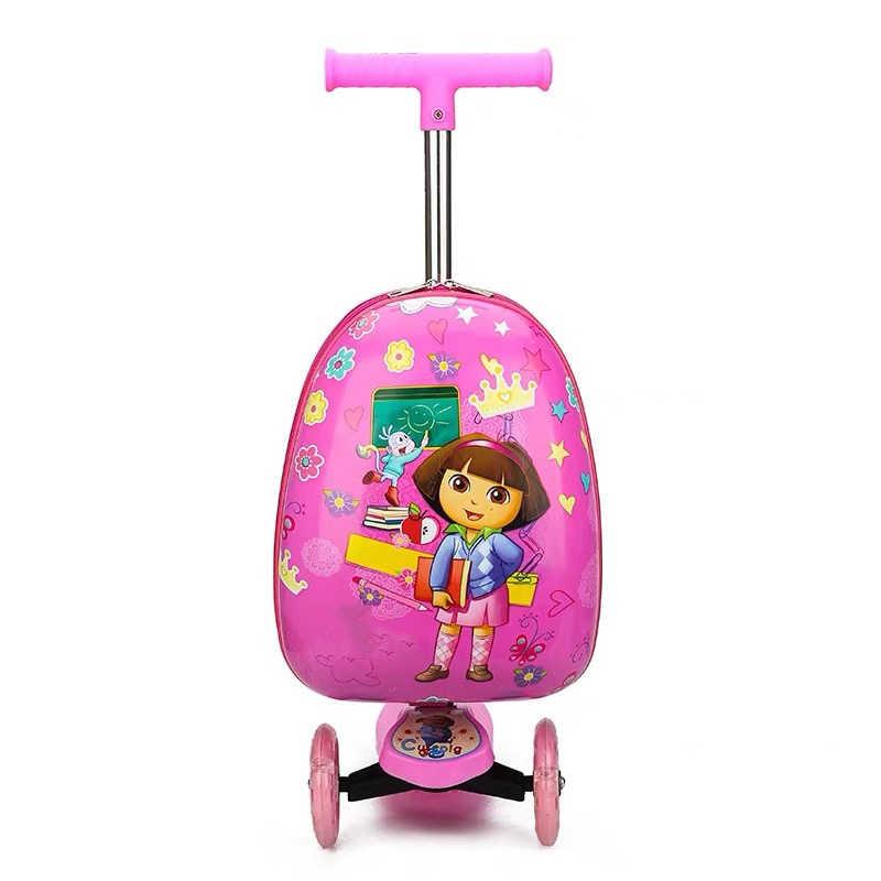 Crianças scooter mala de armazenamento trolley caso bagagem skate para crianças carry-on crianças bagagem passeio trolley caso brinquedo sobre rodas