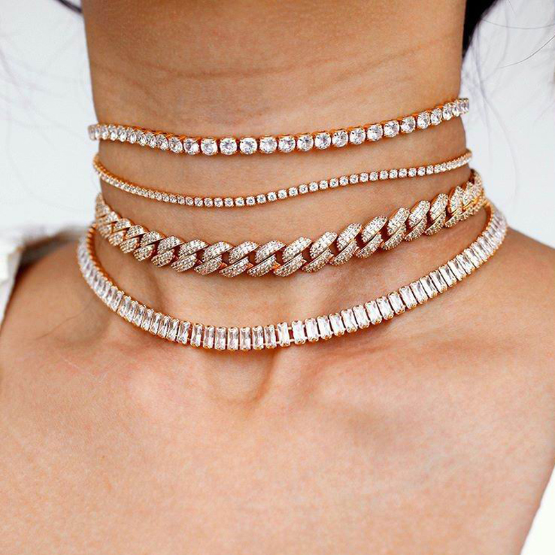 2020 new Rainbo cz iced out hiphop bling Miami Curb Cuban link chain necklace for women Rock CZ adjust choker chain jewelry(China)