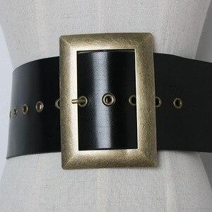 Image 3 - 高品質本革女性ベルト幅パンクファッションビッグスクエアバックル黒のウエストのドレス装飾ベルトcinturon mujer