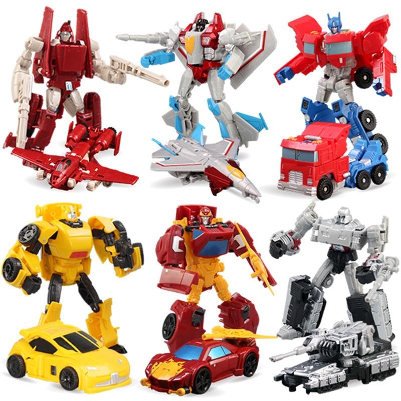 Mini guerreiro transformação brinquedo deformação robô avião carro figuras de ação para presentes de aniversário do menino