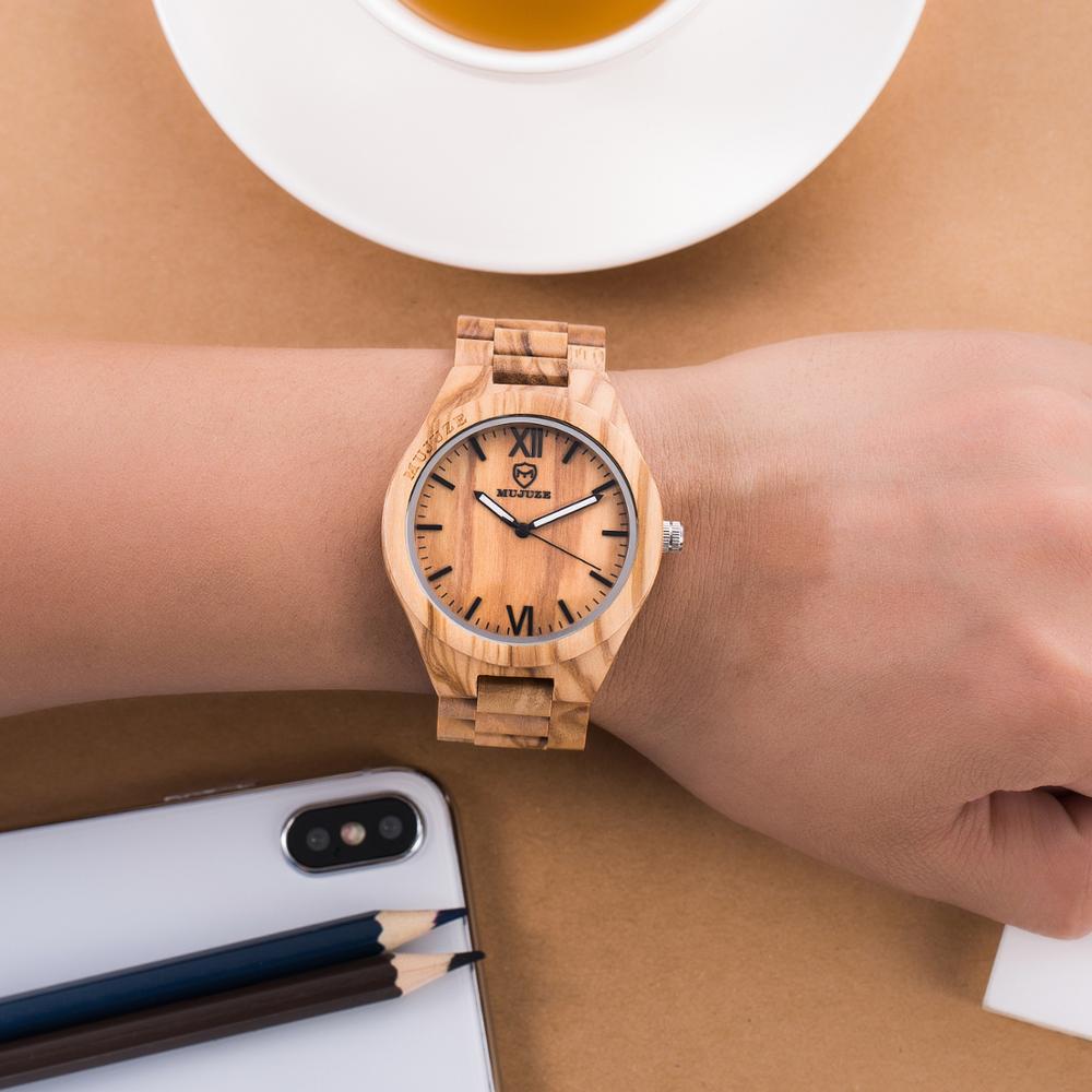 relogio masculino MUJUZE wood watch Men Women Timepieces Quartz Wristwatches Luxury Brand Wooden clock chrismas gift for men